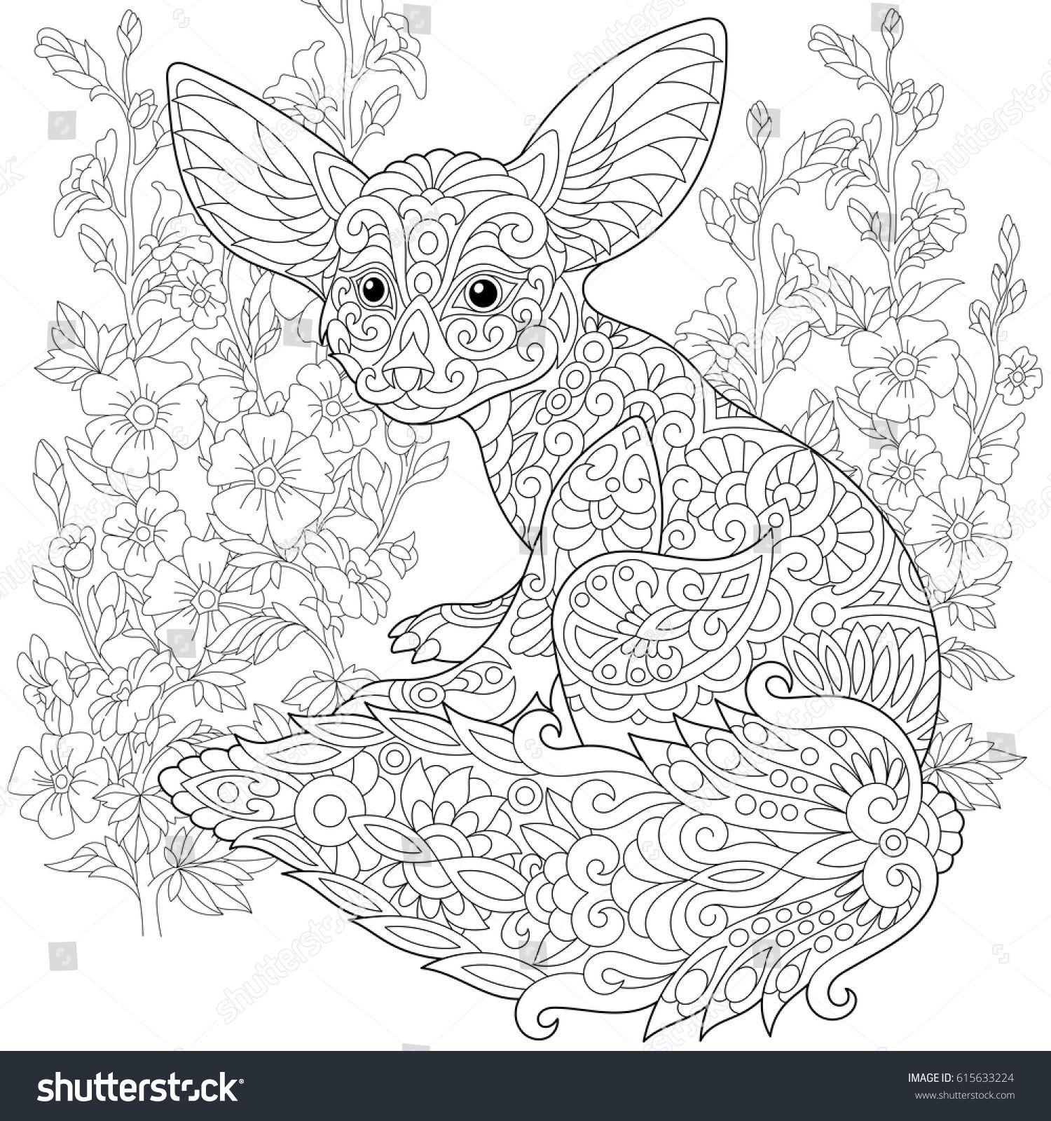 Stylized fennec fox and mallow flowers freehand sketch - Pagina da colorare fennec fox ...