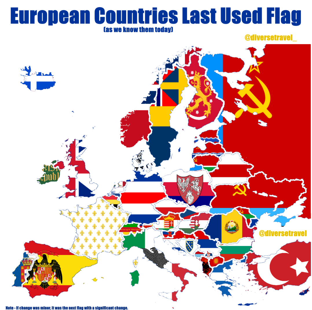 European Countries Last Used Flag By The Country With