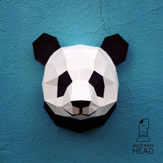 01 - papercraft panda head - printable digital template | 3D