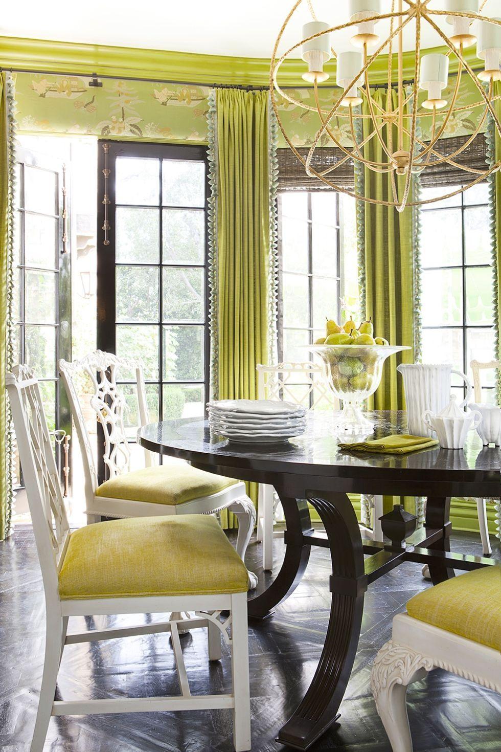 Chartreuse Dining  - ELLEDecor.com