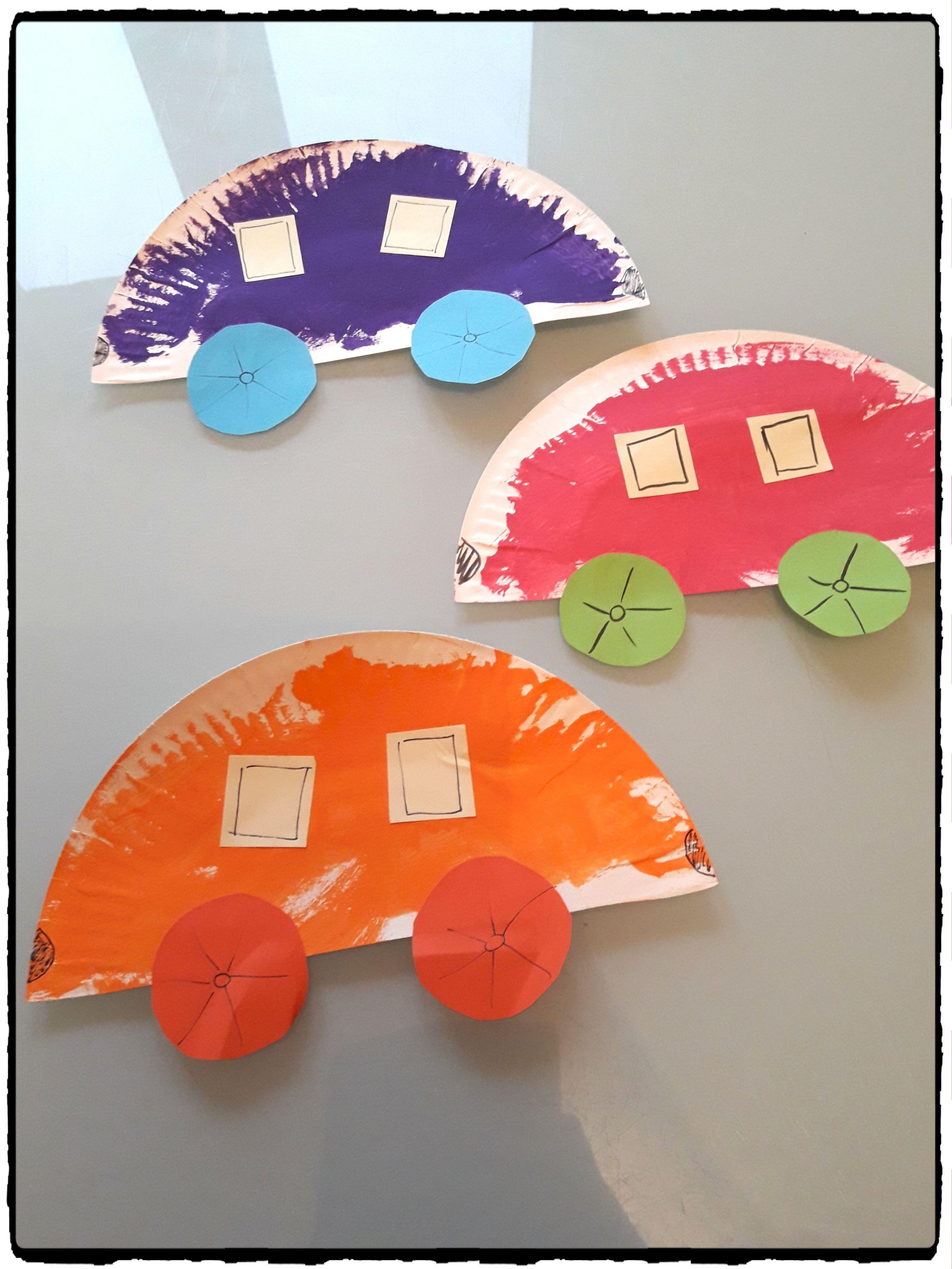 voitures en assiettes en carton transport pinterest assiette en carton bricolage enfant. Black Bedroom Furniture Sets. Home Design Ideas