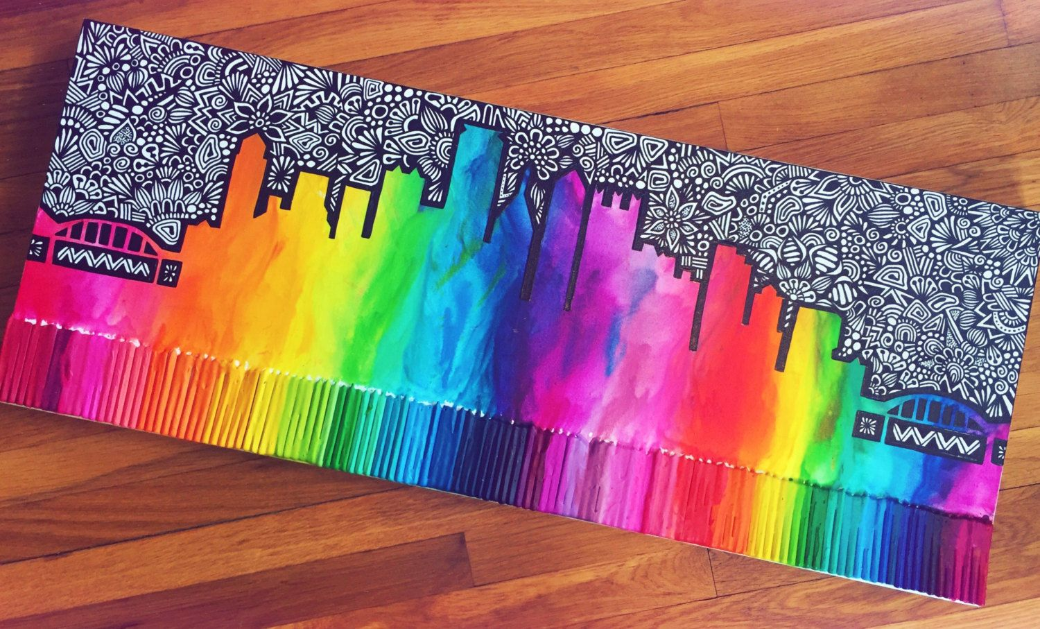 This Colorful Piece Was Inspired By My Home Town Pittsburgh Pa The Photos Show How It Was Created Want To Sh Crayon Art Diy Crayon Art Melted Crayon Crafts