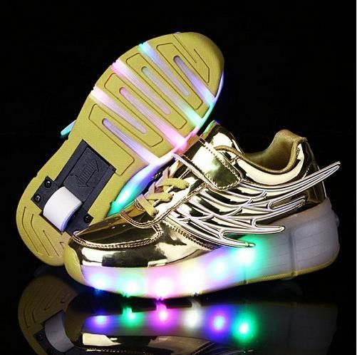 New 2016 Rose Gold Child Heelys Fashion Girls Boys LED ...