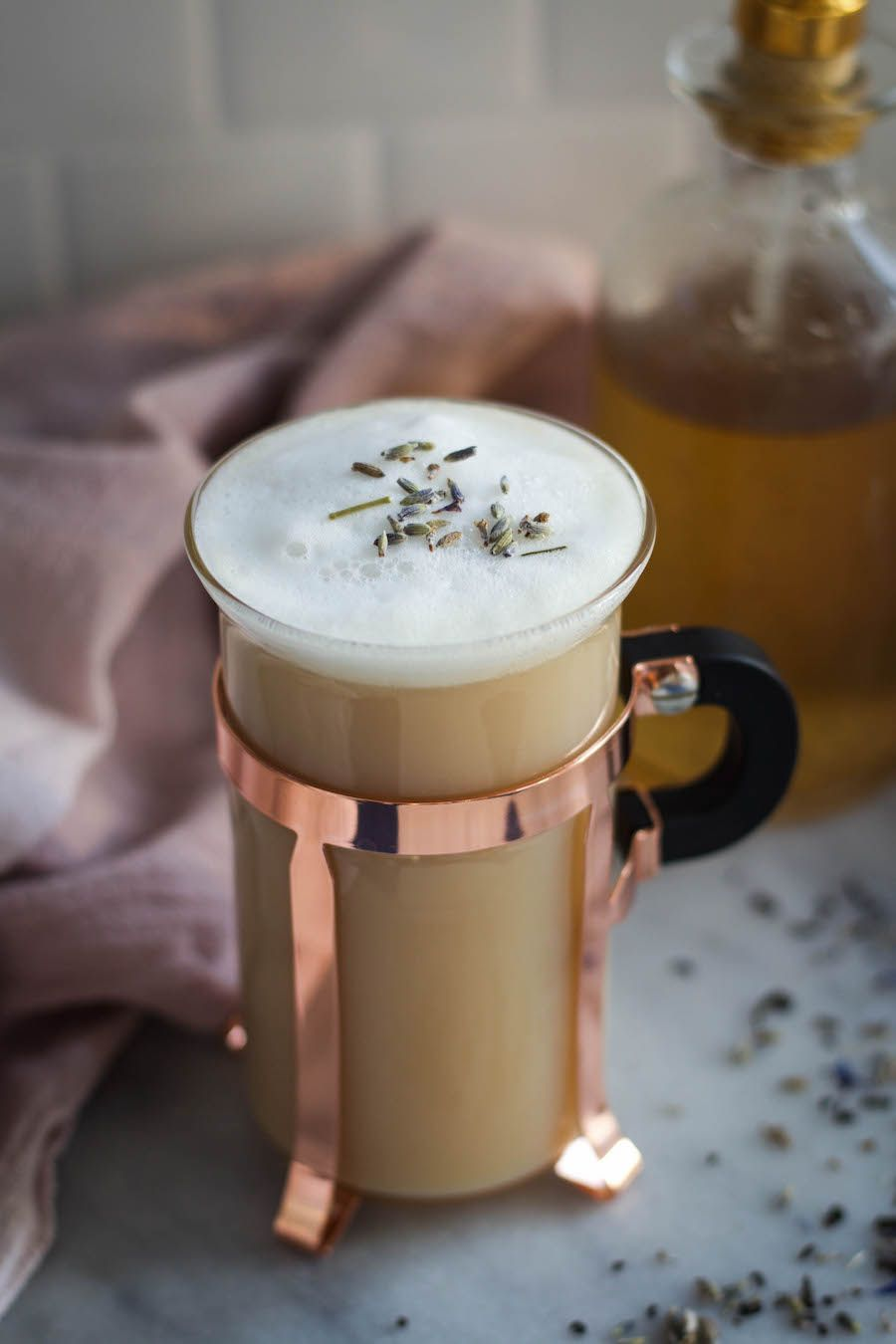Earl grey latte with lavender vanilla bean syrup earl
