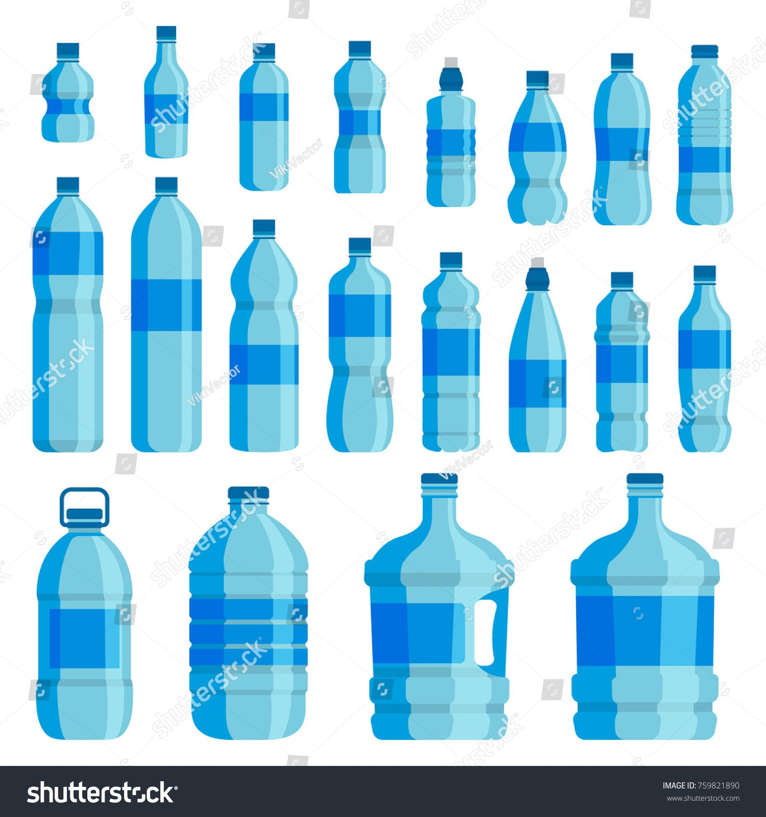 Plastic Bottle Water Set Blue Drinking Water Packaged In Pet Bottle Recyclable And Easy To Store Liquids Vector Flat Sty In 2021 Bottle Water Bottle Plastic Bottles