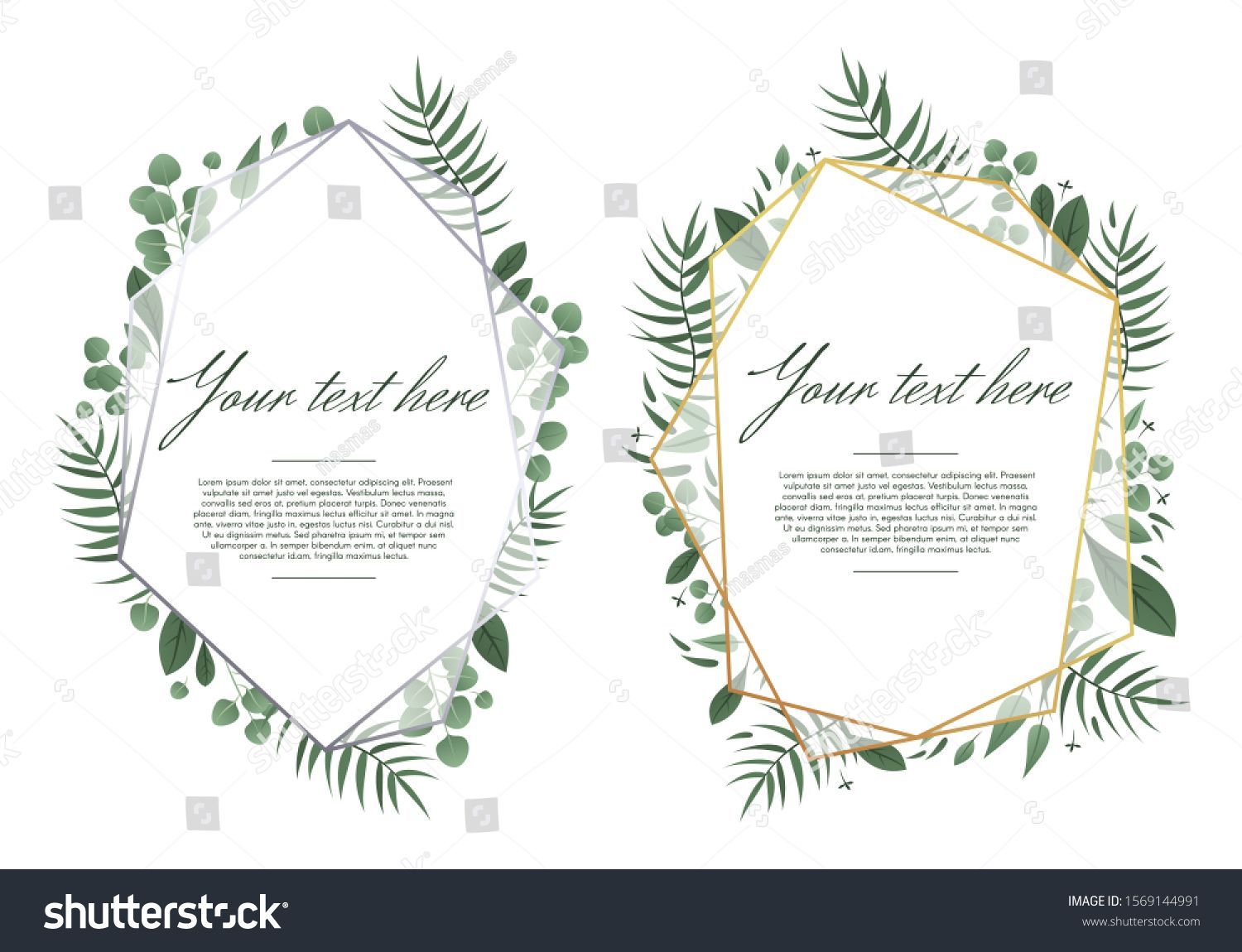 Wedding Greeting Card Floral Geometric Frame Golden Romantic Design Card Green Border Decoration Wedding Wedding Greeting Cards Card Design Romantic Design