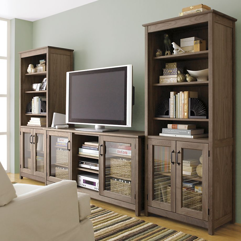 Ainsworth walnut 64 media console with wood glass doors in tv stands media consoles crate and barrel