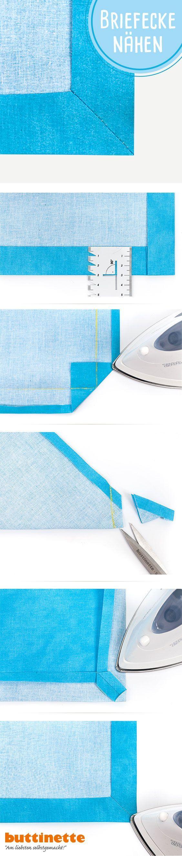Nähtipp: So näht Ihr Briefecken zum Beispiel für Tischdecken oder ...