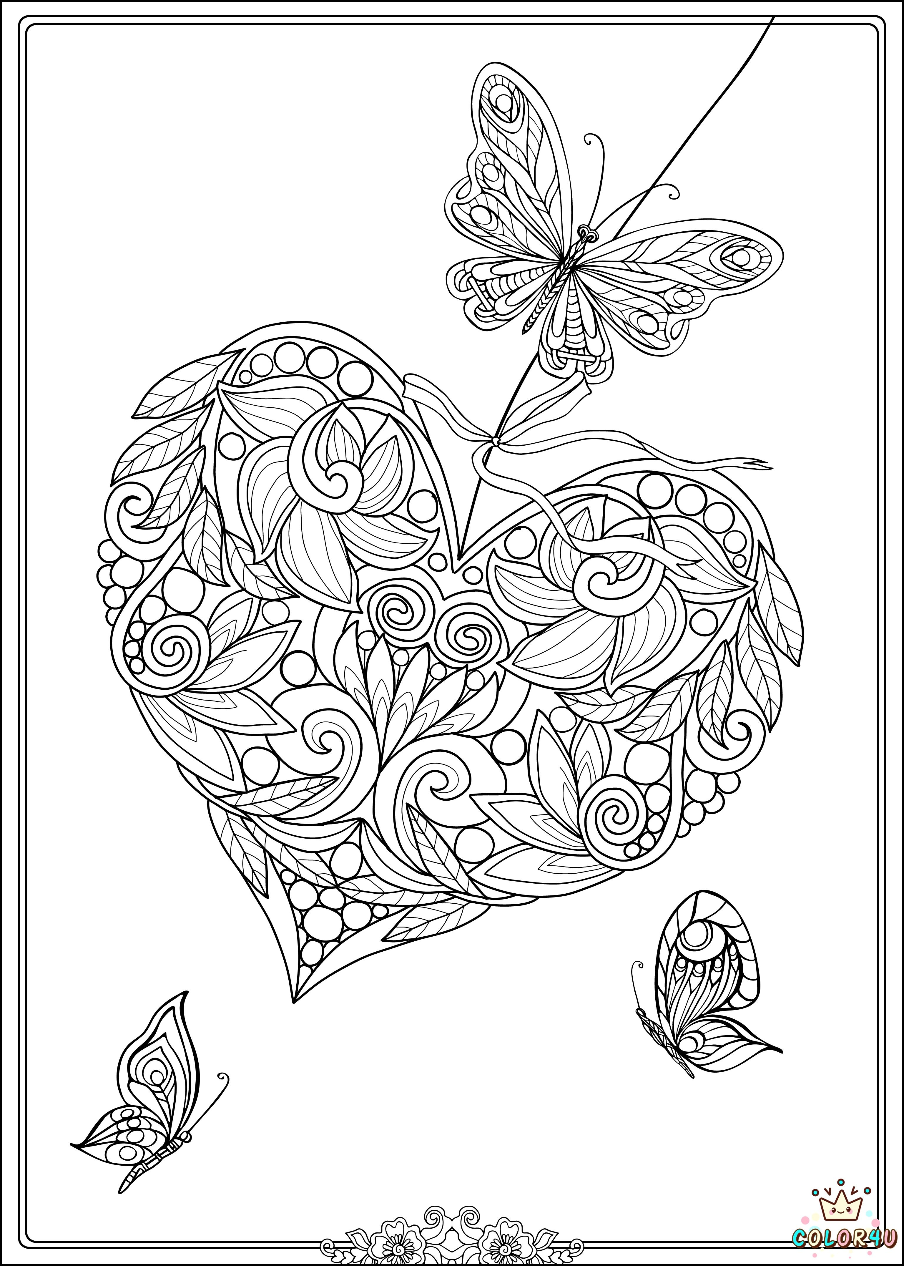 Decorative Love Heart With Flowers And Butterflies Coloring Book For Adult Older Children Page Vector Illustration