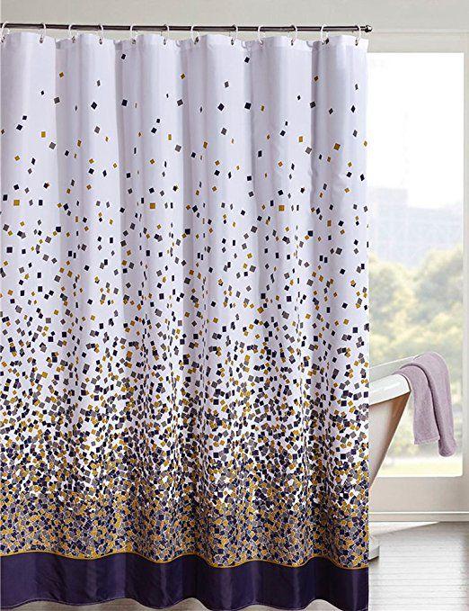 Lanmeng Confetti Design Fabric Shower Curtain Mildew Resistant