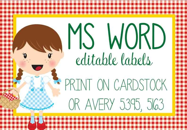 dorothy oz labels ms word editable wizard of oz dorothy