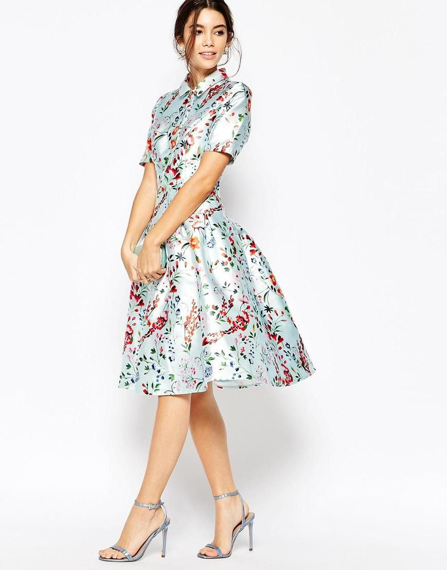 Chi Chi London | Chi Chi London Midi Dress on Sateen with Collar and Sleeves  at