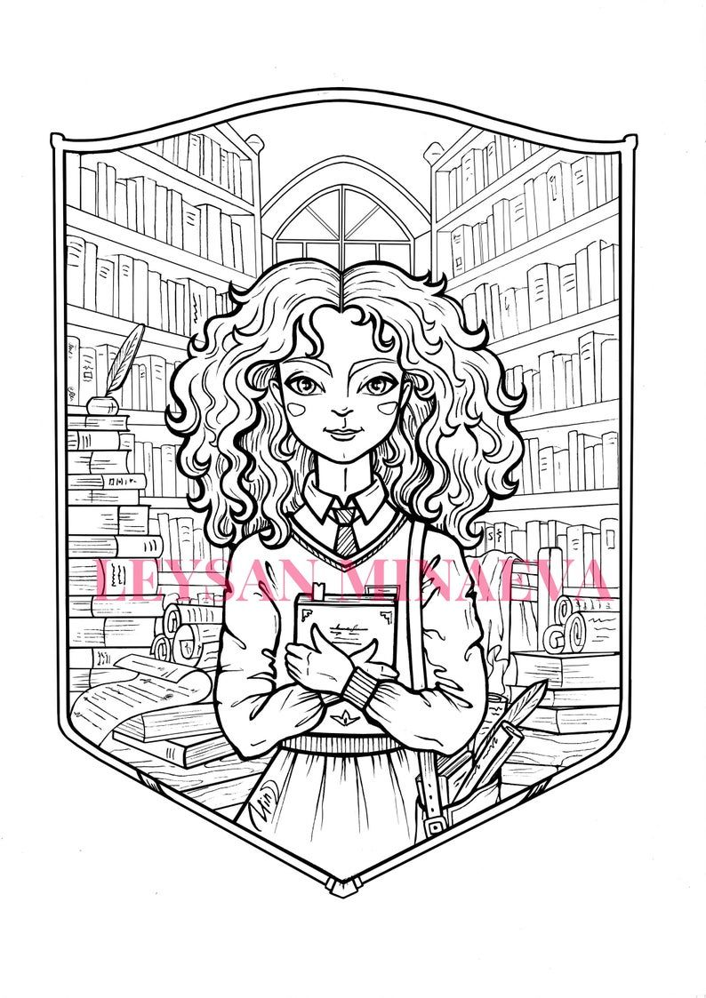 Coloring Rages Hermione Granger Gift Harry Potter Digital Etsy In 2021 Harry Potter Coloring Pages Custom Pet Painting Coloring Pages
