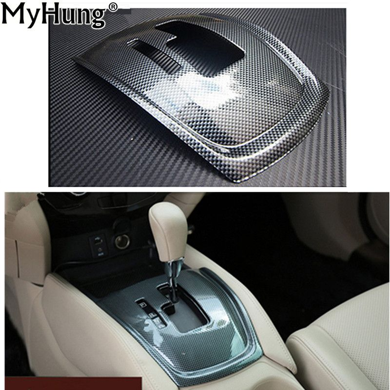 Interior Design Nissan X Trail: ABS Carbon Fiber Gear Control Panel Cover Sticker Suitable