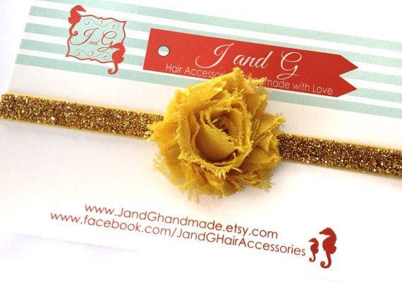 Baby/Child/Girls Shabby Rose Headband Glitter by JandGhandmade, $4.50