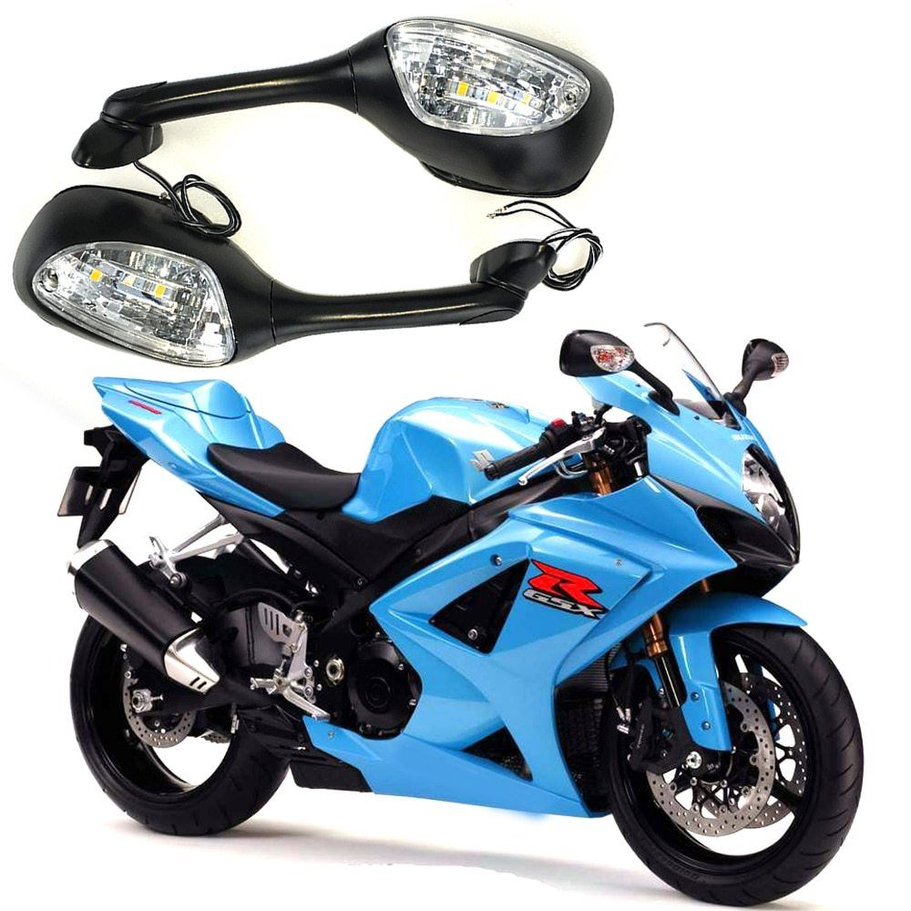 For Suzuki Gsxr Motorcycle Rearview Rear View Mirrors For Suzuki Gsxr 600 750 1000 2006 2010 With Led Turn Signal Light K6 K Suzuki Gsxr Suzuki Blue Motorcycle