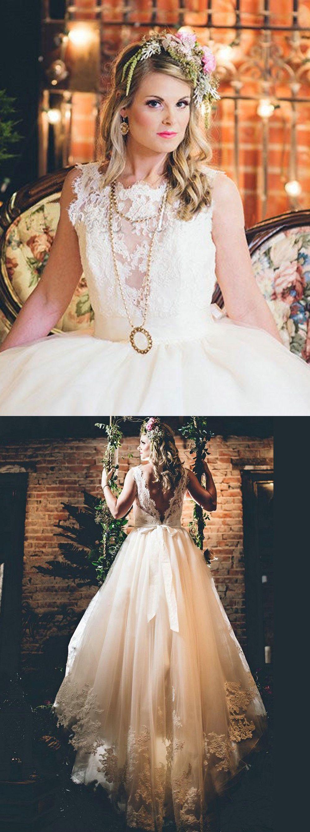 Elegant scoop lace appliques aline chapel train open back wedding