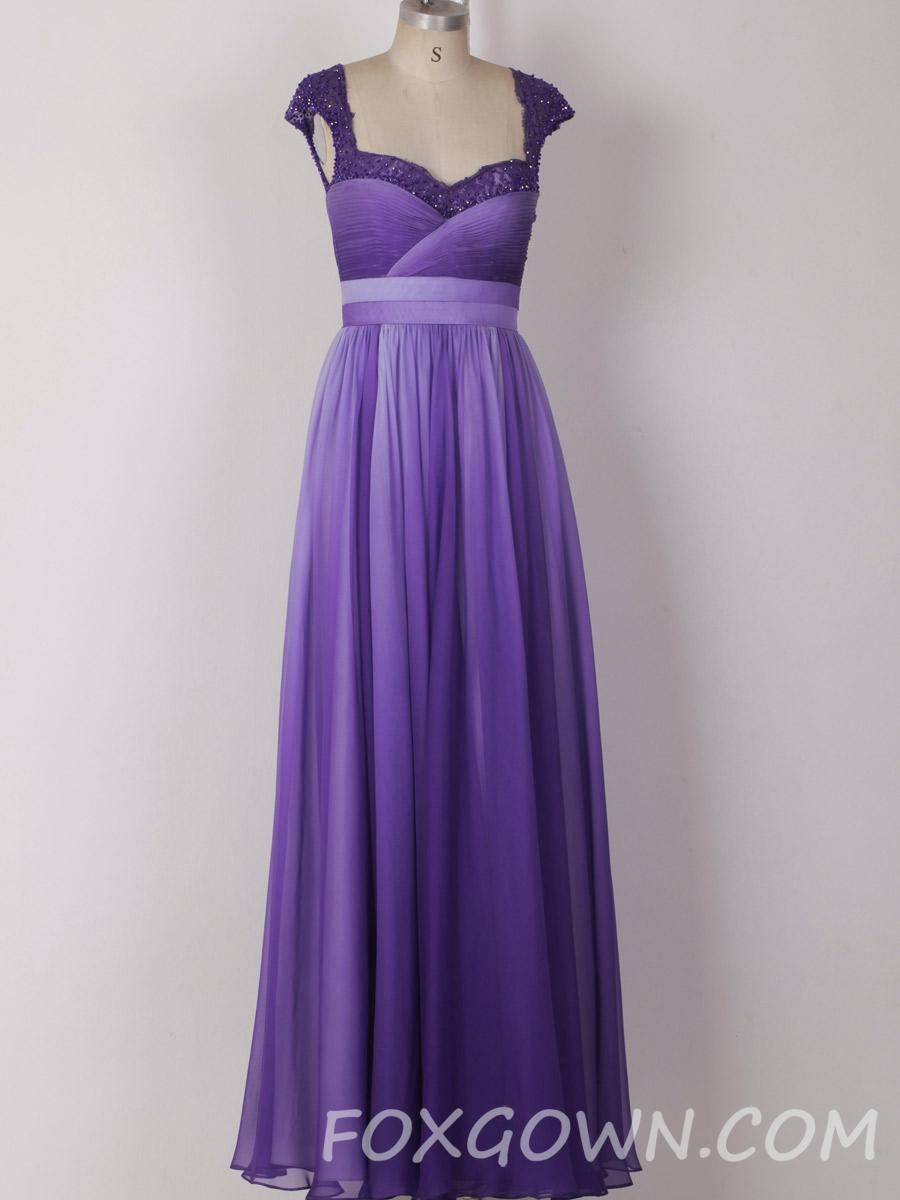 Sheath long prom dress with beading cap sleeve and neckline purple