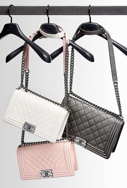 Chanel boy bags in white, pink and grey