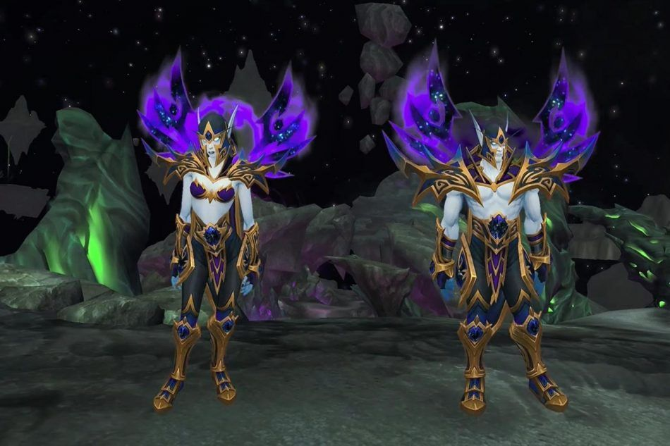 Male And Female Void Elves Standing In A Screenshot So Players Can Get Sucked Into Buying World Of Warcraft Battle For Azer World Of Warcraft Warcraft Azeroth