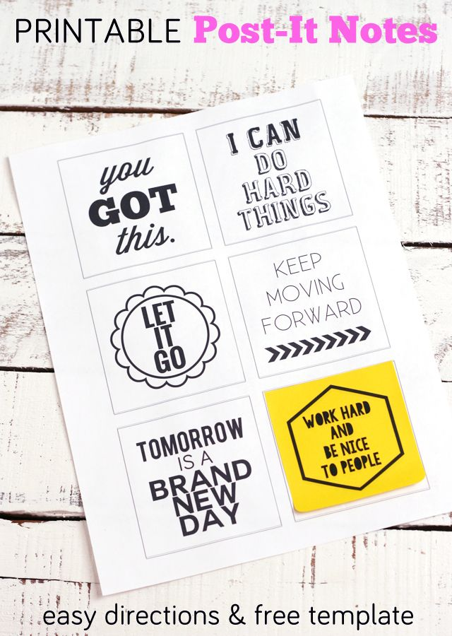 Post-It-Note Printables  You Got This Note, Motivational and - free note template