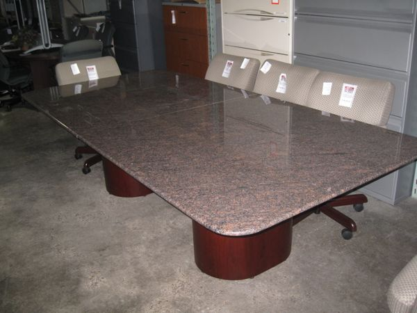 Ft Long Rose Gray Granite Conference Table W Twin Mahogany Drum - Granite conference table for sale