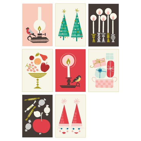 I completely adore these Christmas postcards by Polkka Jam.