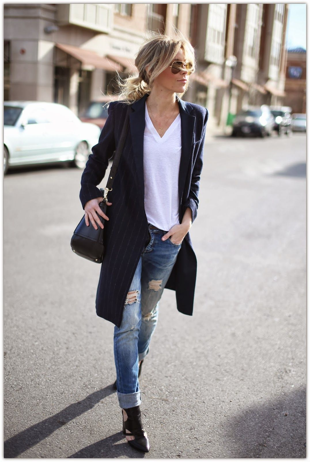 Style Minimal Boyfriend S Jeans Womenswear Denim Outfit Style Fall Coat Darkblue Outfits Fruhling Sommer Stiefeletten Jeans Dunkelblaue Jeans Y S
