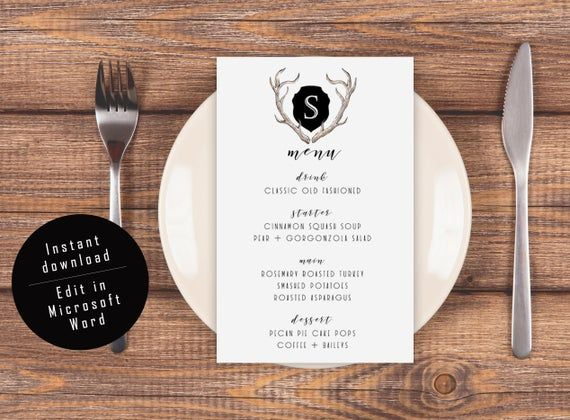Wedding Menu Template - Monogram Printable: Modern Lodge Antler Design for Holiday, Thanksgiving, Fr #weddingmenutemplate