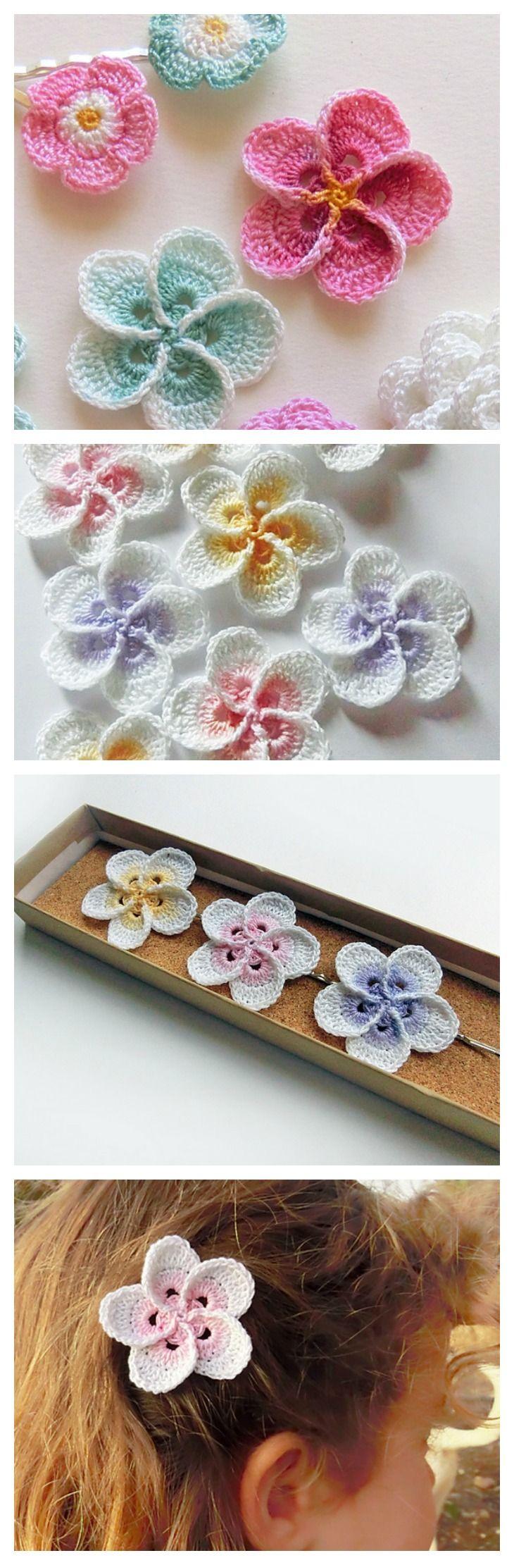 Crochet Hawaiian Plumeria Flower with Pattern | Häkeln, Häkelblumen ...