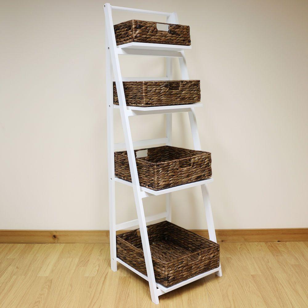 White 4 Tier Wood Ladder Shelf Display Unit & Dark Brown Wicker ...