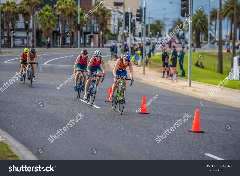 Melbourne Australia 12january 2020 2xu Triathlon Series St Kilda Melbourne 2020 Race 3 Bike Stage In 2020 Photo Editing Stock Photos Print Designs Inspiration