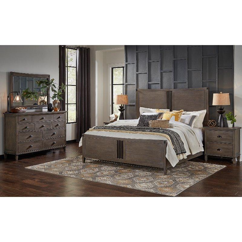 Best Classic Gray 4 Piece Queen Bedroom Set Mount Holly 400 x 300
