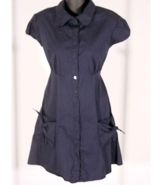 Aqua Woman's Shirt Dress Long Shirt Top, Short Sleeve Top, Button Down, Size L $14.00