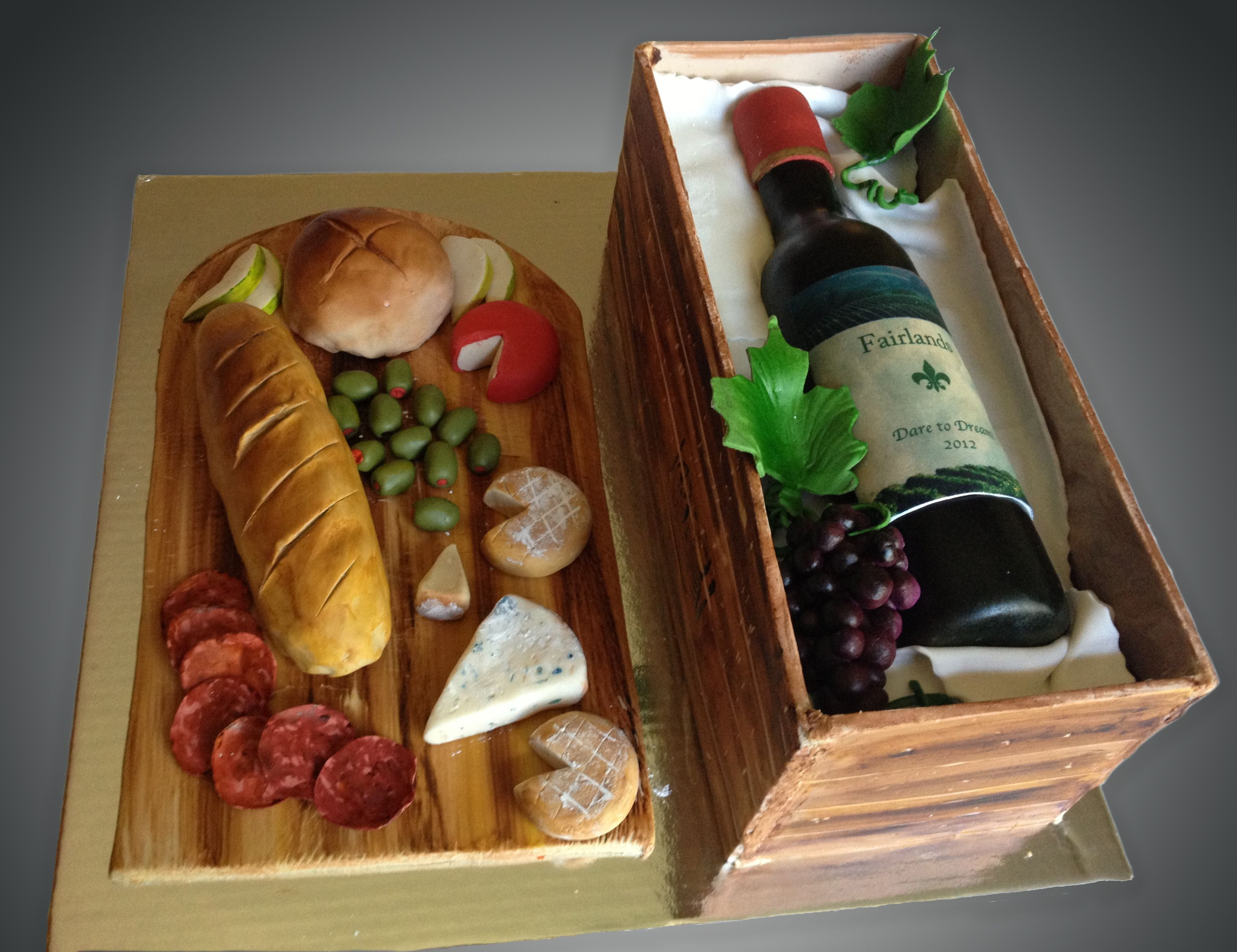 Wine Bottle In A Crate Cake Everything On This Cake Is