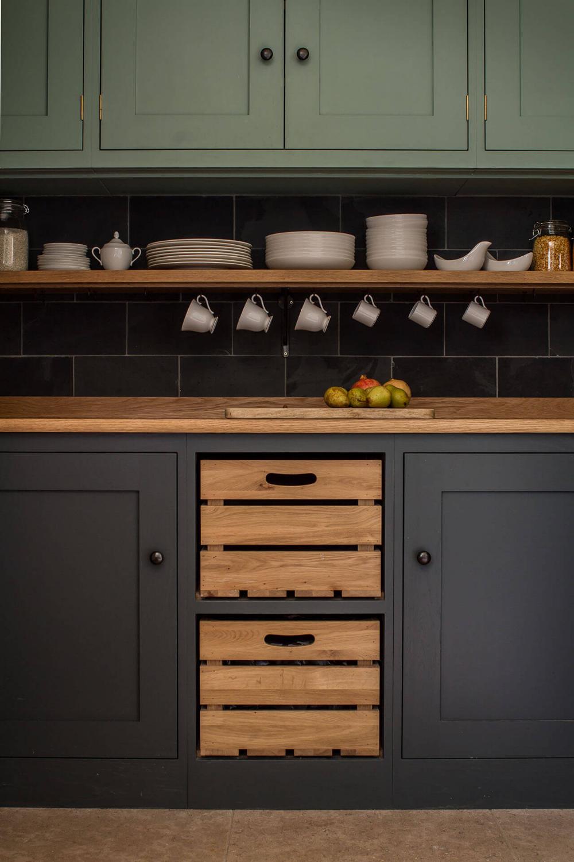 Cotswold Chapel Kitchen with bespoke Oak crate drawers