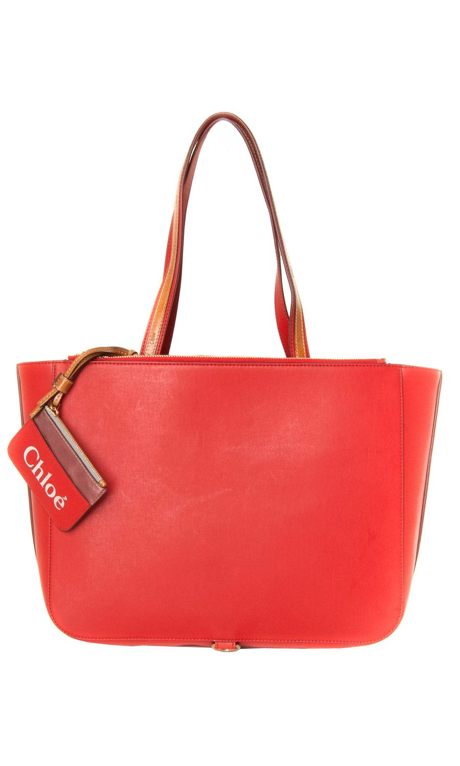Chloé red #tote bag: double rounded top handles with gold.tone buckle fastenings