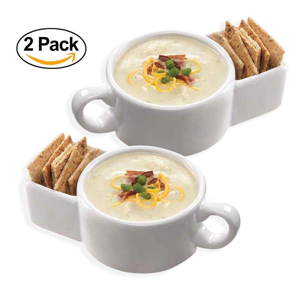 Soup Cereal Bowl Cracker Holder Mug Large for Office Home Food ...
