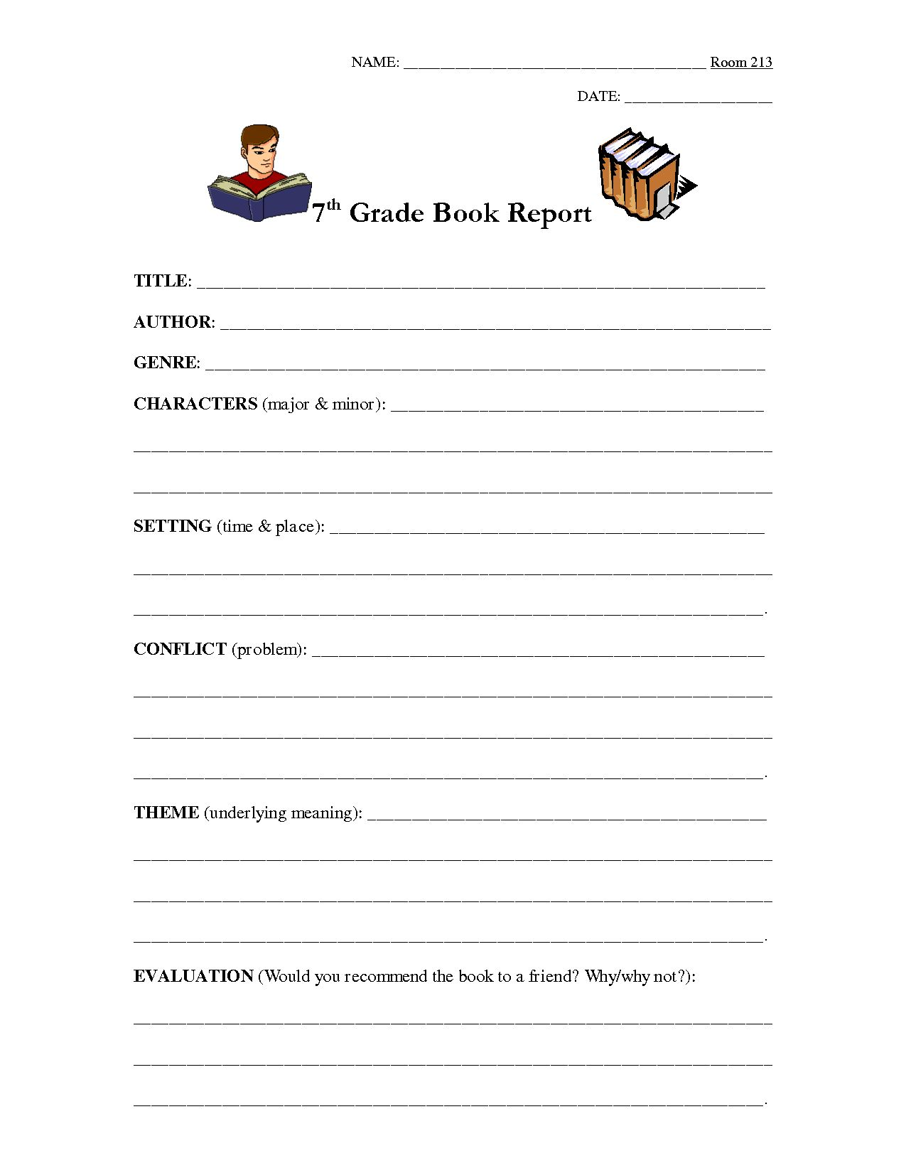 The Charming 7th Grade Book Report Outline Education Book Report With Student Grade Repo Book Report Templates Book Report High School Book Report Template