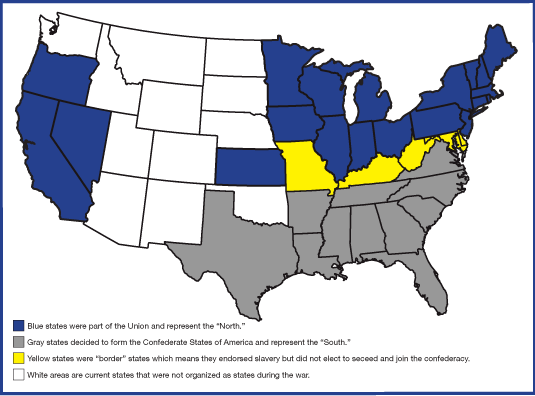 Map Of Union Confederate And Border States 4th Grade Pinterest