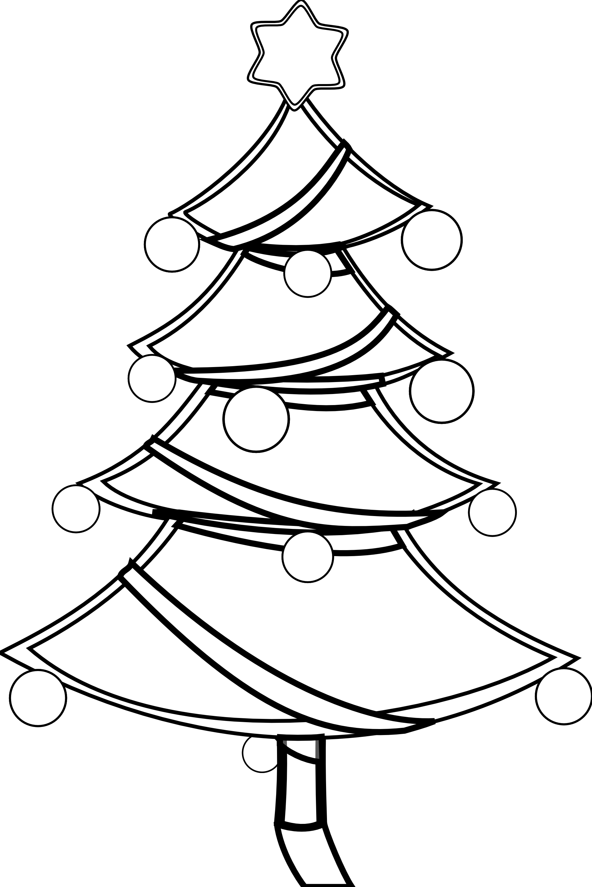 Christmas Tree Xmas Coloring Book Colouring Black White