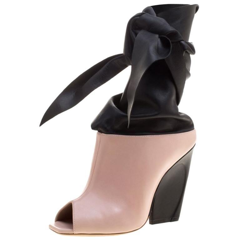 f47e9db4da Dior Blush Pink & Black Leather Brooklyn Ankle Wrap Peep Toe Ankle Boots  Size 39