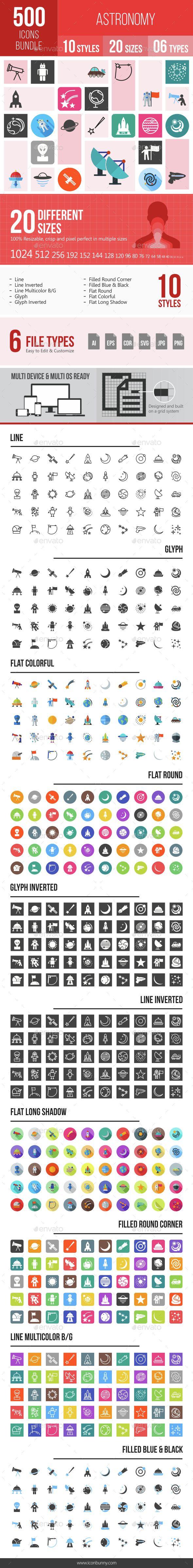 500 Astronomy Icons Bundle Astronomy, Bundle, Icons