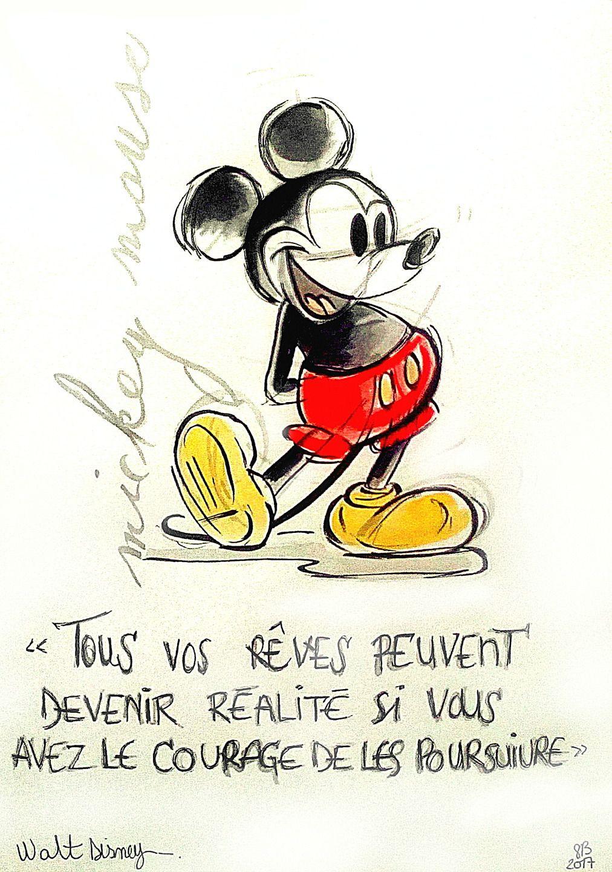 Dessin Peinture Mickey Mouse Disney Souris Aquarelle Effet