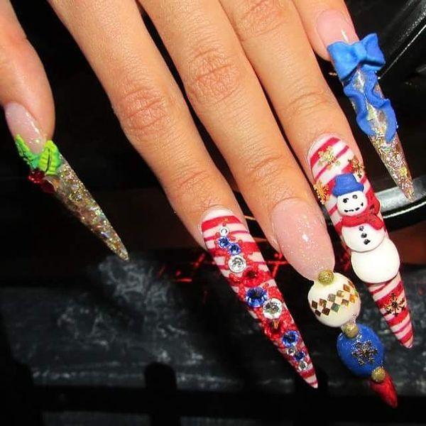 Christmas Stiletto Nails   Stiletto nails long   Pinterest   Stilettos