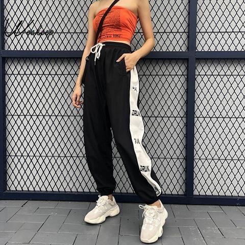 4d2bb2e301897c Weekeep Frauen Patchwork Hohe Taille Hosen Streetwear Lose Schwarze  Bleistift Hosen Mode Kordelzug | Hose | Pants, Fashion pants und Summer  pants outfits