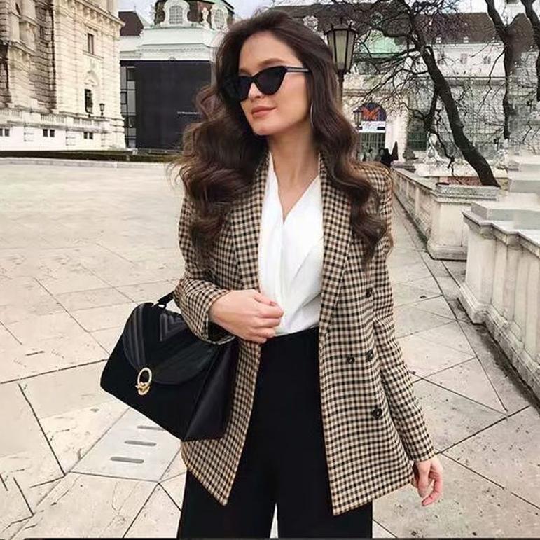 Long sleeve Double Breasted plaid Blazer jacket