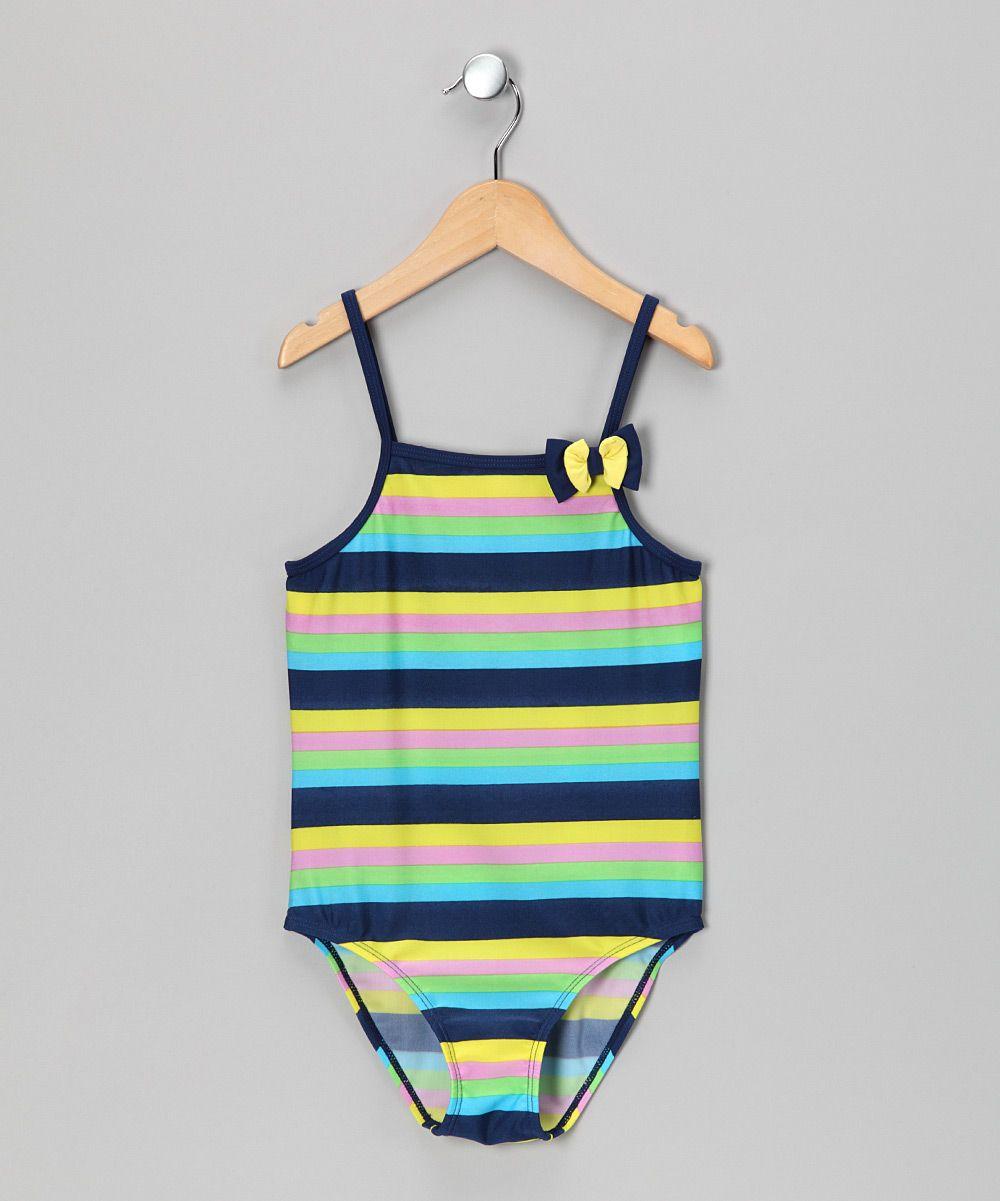 Cool Tones Stripe One-Piece - Girls