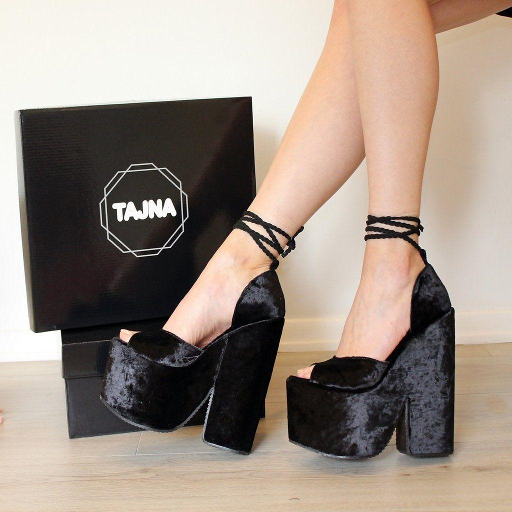 Black Lace up Super High Heel Wedge Platform Shoes