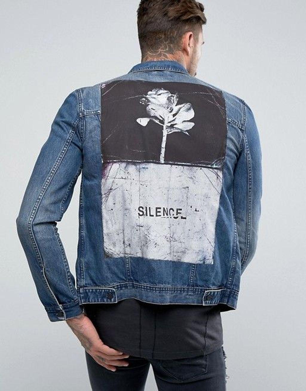 Guess Herren Dillon Denim Jacket with Graffiti Jeansjacke
